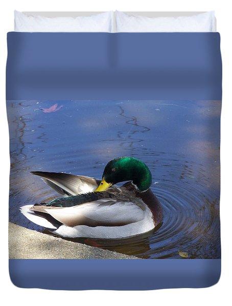 Sunbathing Mallard Duvet Cover
