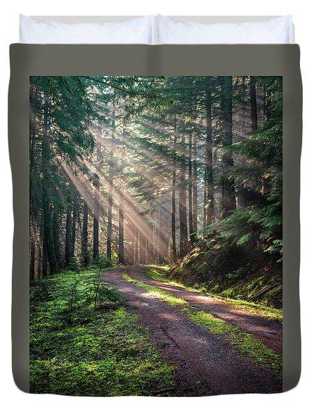 Sunbeam In Trees Portrait Duvet Cover