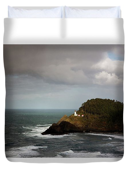 Duvet Cover featuring the photograph Sunbeam On The Lighthouse by Mary Jo Allen