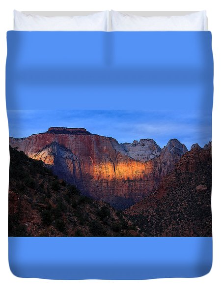 Sunbeam, Towers Of The Virgin, Zion Duvet Cover