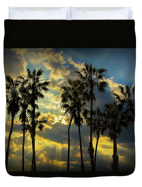 Duvet Cover featuring the photograph Sunbeams And Palm Trees By Cabrillo Beach by Randall Nyhof