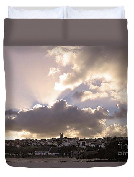 Duvet Cover featuring the photograph Sunbeams Over Church In Color by Nicholas Burningham