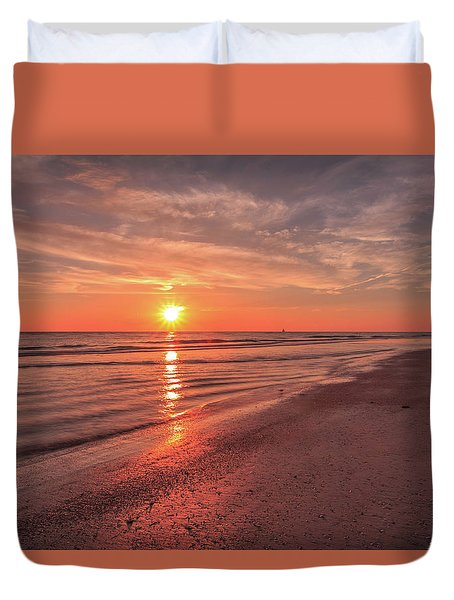 Duvet Cover featuring the photograph Sunburst At Sunset by Doug Camara