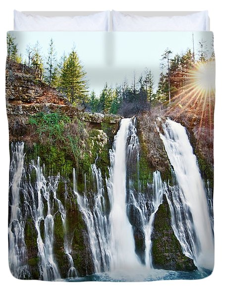 Sunburst Falls - Burney Falls Is One Of The Most Beautiful Waterfalls In California Duvet Cover
