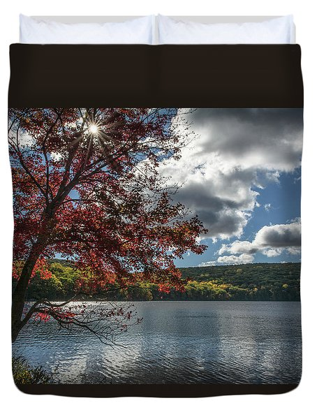 Sunburst Tree At Silvermine Lake Duvet Cover