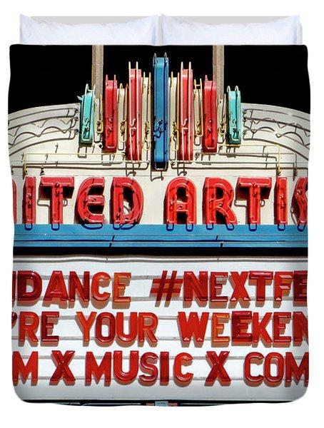 Sundance Next Fest Theatre Sign 1 Duvet Cover