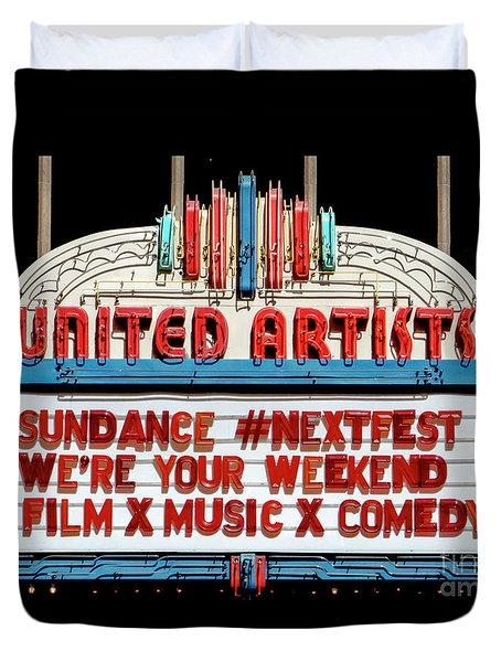 Sundance Next Fest Theatre Sign 1 Duvet Cover
