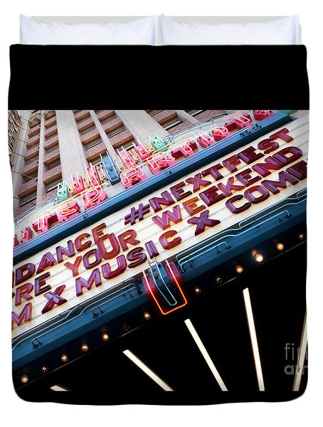 Sundance Next Fest Theatre Sign 3 Duvet Cover