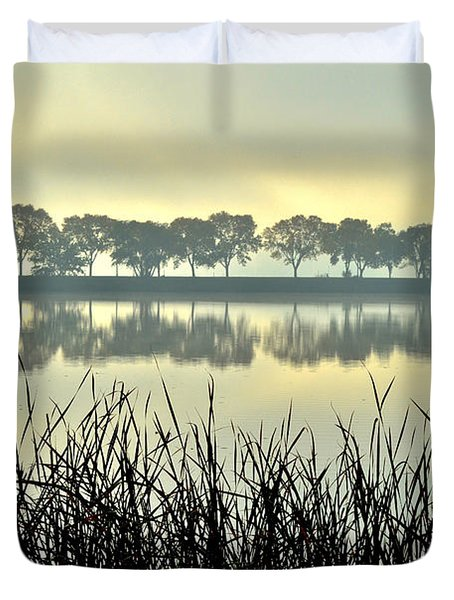 Fog At Sunrise Duvet Cover
