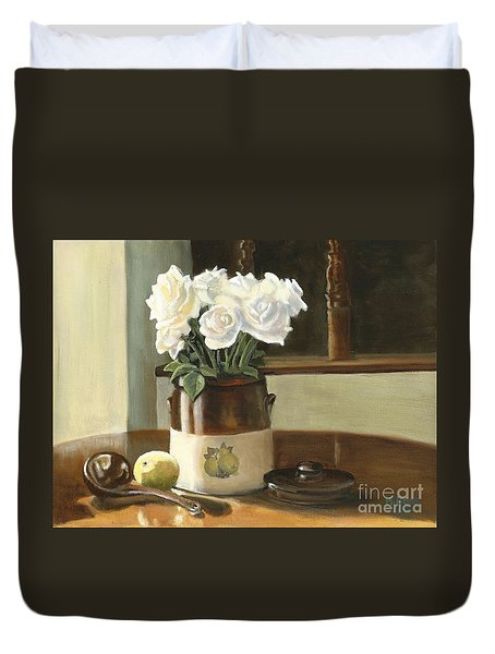 Sunday Morning And Roses - Study Duvet Cover by Marlene Book