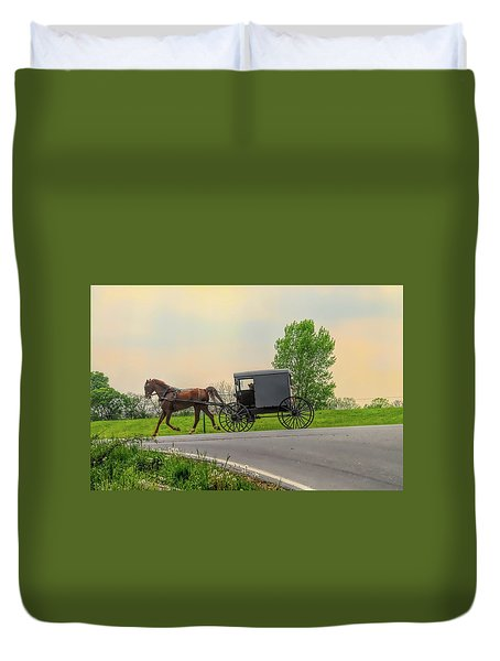 Sunday Ride At Sunset On Ronks Road Duvet Cover