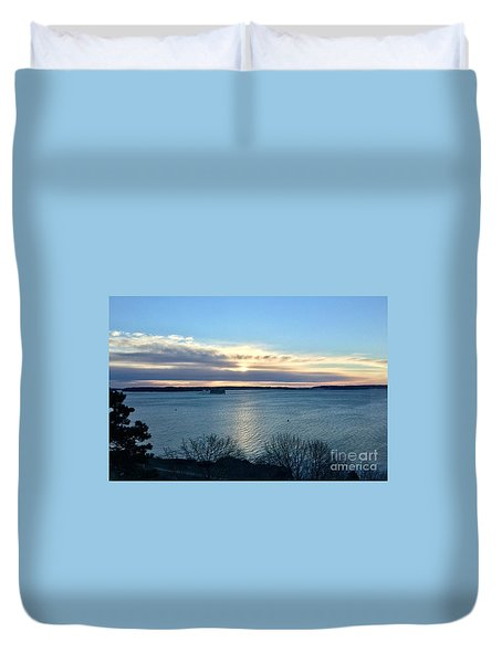 Sunday Sunrise On Casco Bay Duvet Cover