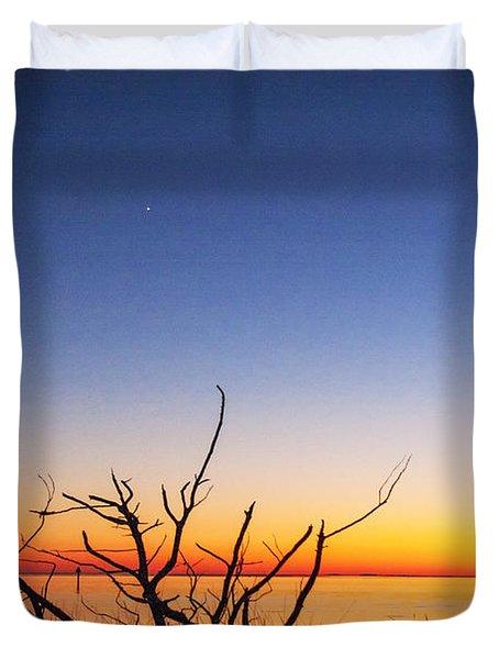 Sundown At The Sound Duvet Cover