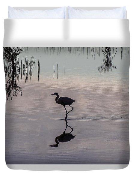 Sundown Heron Silhouette Duvet Cover