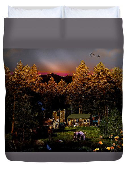 Sundown In The Rockies Duvet Cover