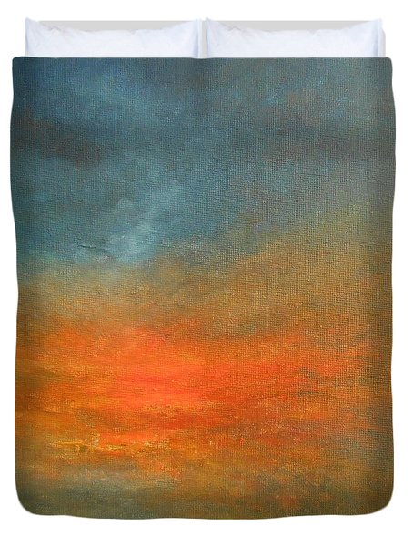Duvet Cover featuring the painting Sundown by Jane See