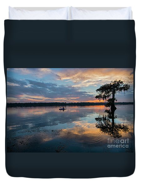 Duvet Cover featuring the photograph Sundown Kayaking At Lake Martin Louisiana by Bonnie Barry