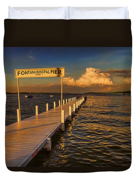 Sundown - Lake Geneva Wisconsin Duvet Cover