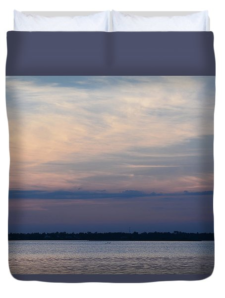 Sundown On Bay Duvet Cover by Cathy Jourdan