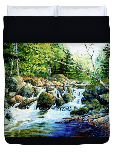 Duvet Cover featuring the painting Sunfish Creek by Hanne Lore Koehler