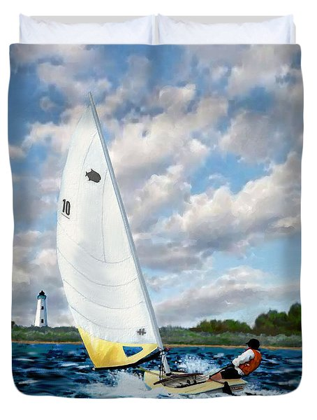 Duvet Cover featuring the painting Sunfish by Jann Paxton