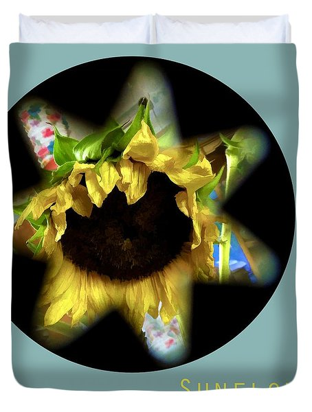 Sunflower . Star Of The Garden Duvet Cover by Renee Trenholm