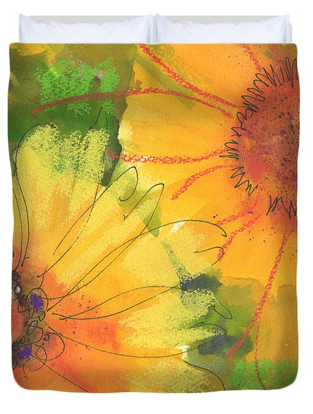 Big Sunflowers Watercolor And Pastel Painting Sf018 By Kmcelwaine Duvet Cover