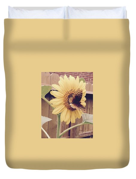 Sunflower And Butterfly Duvet Cover