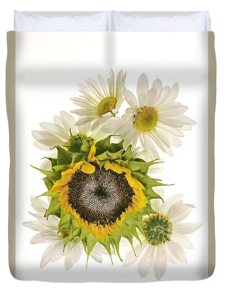 Sunflower And Daisies Duvet Cover