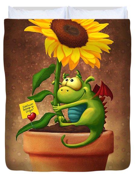 Sunflower And Dragon Duvet Cover