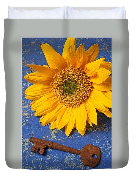 Sunflower And Skeleton Key Duvet Cover by Garry Gay