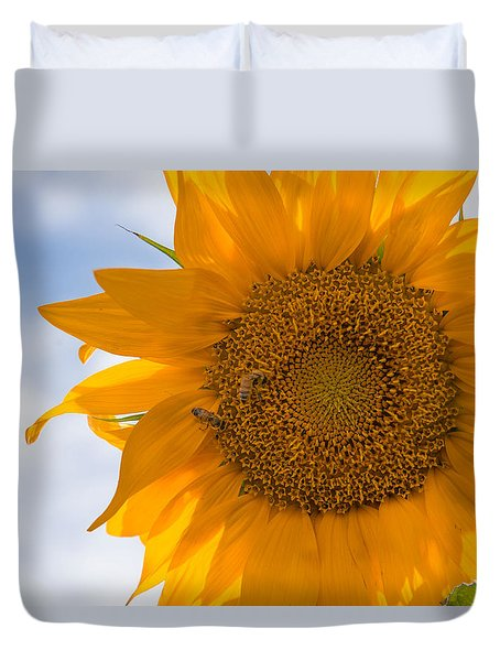 Sunflower And The Bee  Duvet Cover