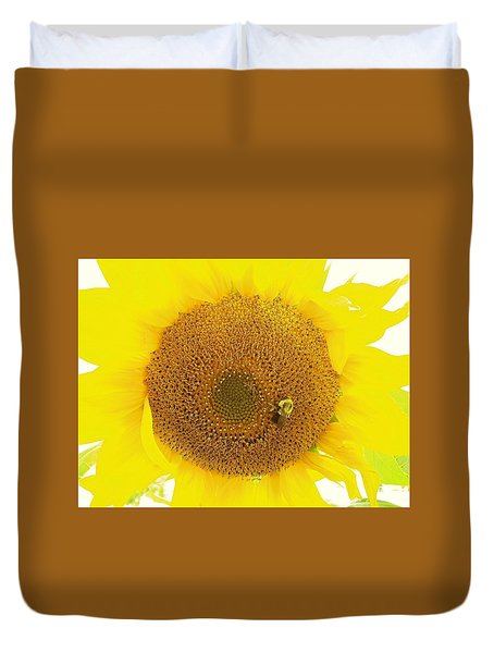 Sunflower And The Happy Bee Duvet Cover