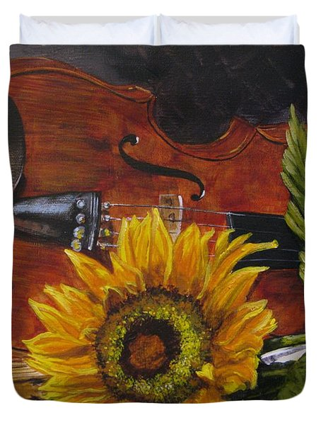 Sunflower And Violin Duvet Cover