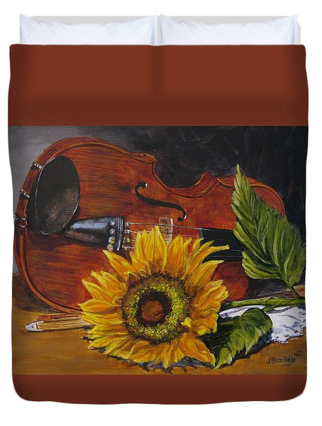 Sunflower And Violin Duvet Cover