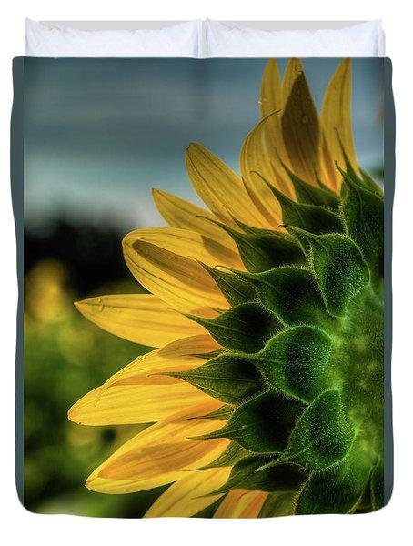 Sunflower Blooming Detailed Duvet Cover