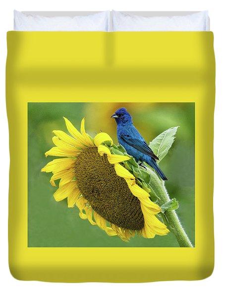 Sunflower Blue Duvet Cover