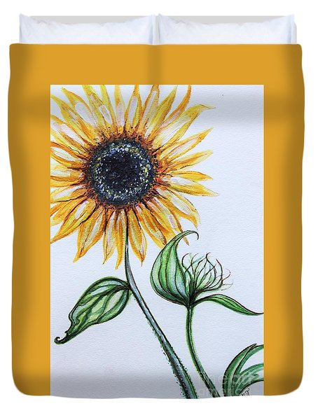 Duvet Cover featuring the painting Sunflower Botanical by Elizabeth Robinette Tyndall