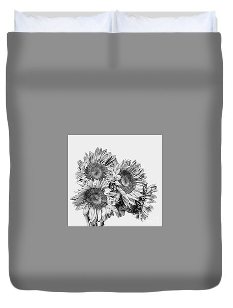 Sunflower Bouquet Bw Duvet Cover