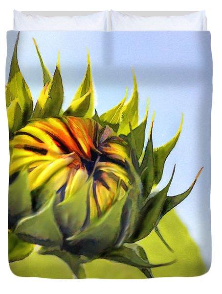Sunflower Bud Duvet Cover by John Edwards