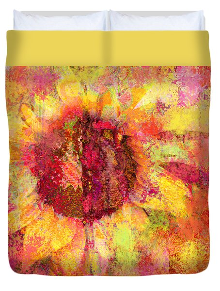 Sunflower Burst In Pink Duvet Cover by Suzanne Powers