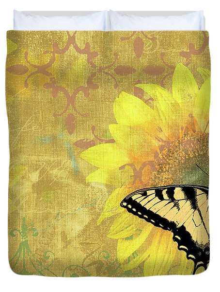 Sunflower Butterfly Yellow Gold Duvet Cover