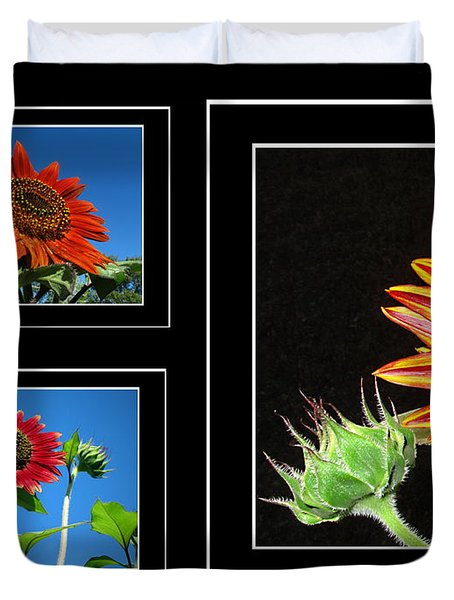 Duvet Cover featuring the photograph Sunflower Collage by Joyce Dickens