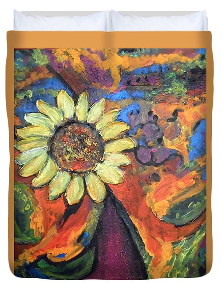 Duvet Cover featuring the painting Sunflower Dance by Esther Newman-Cohen