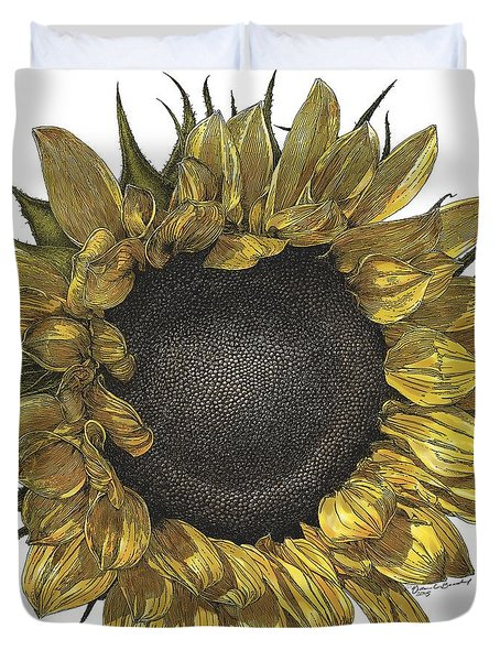 Sunflower Drawing In Color Duvet Cover