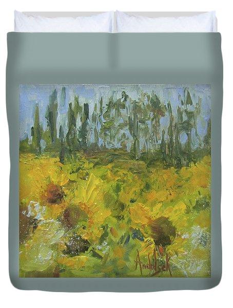 Sunflower Field Duvet Cover by Barbara Andolsek