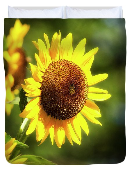 Duvet Cover featuring the photograph Sunflower Field by Christina Rollo