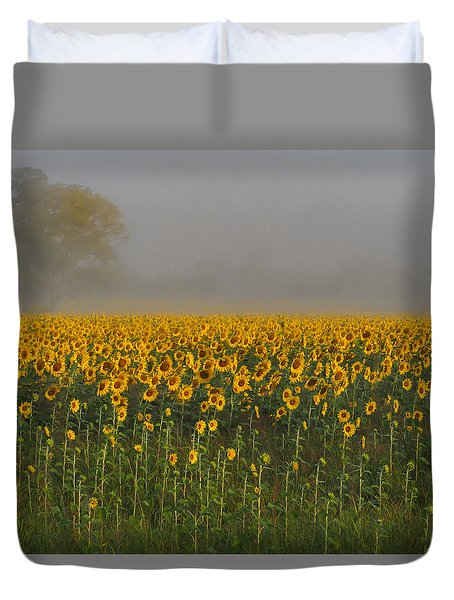 Sunflower Field On A Foggy Morn Duvet Cover