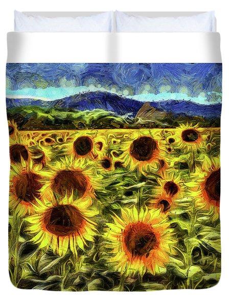 Sunflower Field Van Gogh Duvet Cover