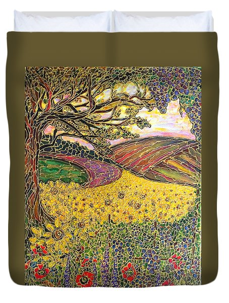 Duvet Cover featuring the painting Sunflower Fields by Rae Chichilnitsky